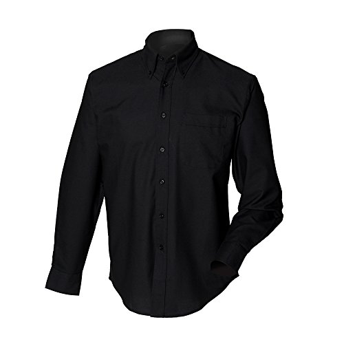Henbury Mens Long Sleeve Classic Oxford Work Shirt (XL) (Black) (Long Shirt Sleeve Oxford Classic)