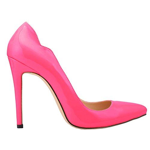 Toe OL High Elegant Pumps Red Heels Pointed Women's Slip Rose On qEgwC6C