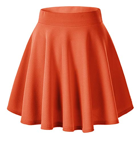 - Urban CoCo Women's Basic Versatile Stretchy Flared Casual Mini Skater Skirt (L, Orange)