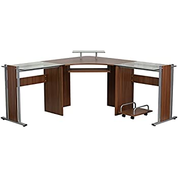 Flash Furniture Teakwood Laminate Corner Desk with Pull-Out Keyboard Tray and CPU Cart