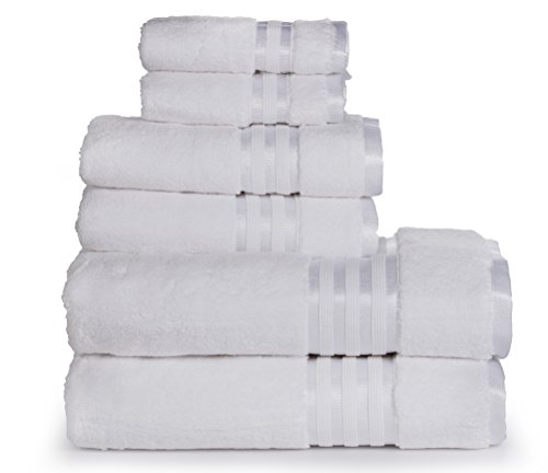 uality Zero Twist, Air Soft, 6 Piece towel set, 2 Bath towels, 2 Hand Towels 2 Washcloths, Machine washable, Hotel quality, Towel Gift Set- Dove Cotton collection (white) ()