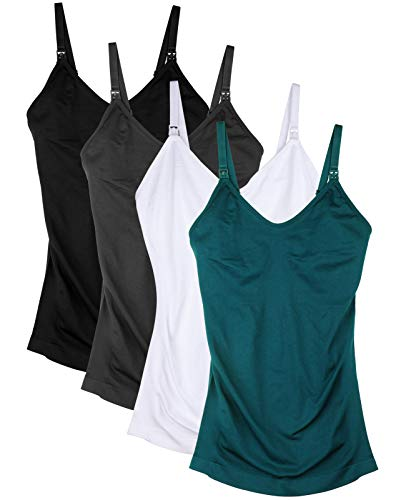 Womens Nursing Tank Tops for Breastfeeding with Built in Bra Maternity Cami Pack of 4 Color Black Gray White Green Size L