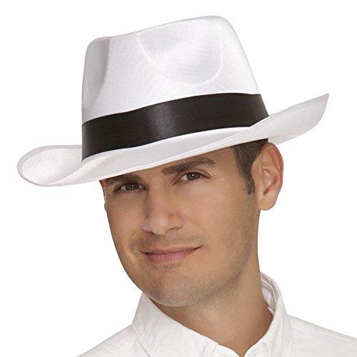 Gangster Fedora Hat White w/Black -