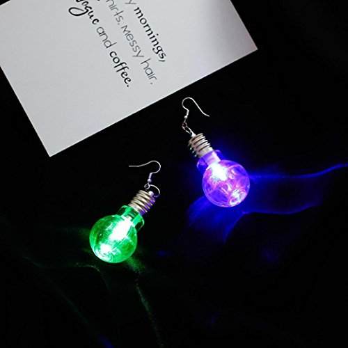 Iuhan LED Blinking Bulb Fashion Women Light Up Earring Ear Hook Dangle Party Pub Christmas Halloween Earrings Jewelry (8x3cm, A)