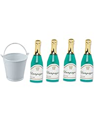 4pack Mini Champagne Bottles with Mini Ice Bucket Cake Topper Cake Decoration Toys