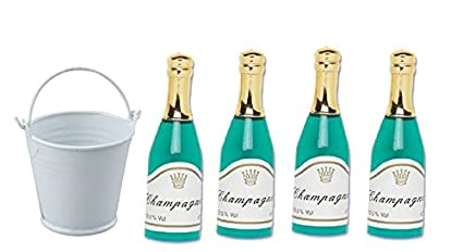 4pack Mini Champagne Bottles With Ice Bucket Cake Topper Decoration Toys