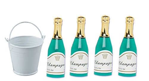4pack Mini Champagne Bottles with Mini Ice Bucket Cake Topper Cake Decoration Toys -