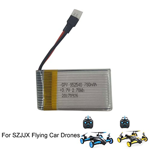 SZJJX Rechargeable Battery 3.7V 750mAh for SZJJX Air-Ground Quadcopter RC Drone 6-Axis Gyro Flying Car 2.4Ghz 6CH Land/Sky 2 Modes Helicopter 2 in 1 Toy SJ23