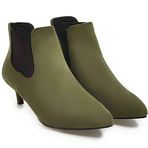 Mid NIGHTCHERRY Fashion On Boots Pull Chelsea Women Green Heel UvaFq1w