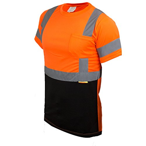 Troy TSBFS8511 Class 3 High Visible Short Sleeve Black Bottom Safety T Shirts Moisture Wicking Mesh with 2 Inch Replective Tapes (Orange, 2XL)
