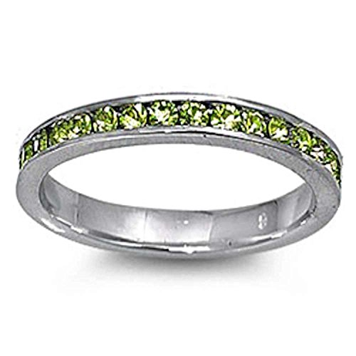Band Peridot Ring - 3mm Channel Set Full Eternity Wedding Band Ring Round Simulated Peridot 925 Sterling Silver, Size-6