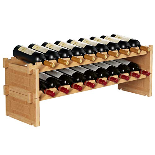 HOMECHO Stackable Bamboo Wine Rack, 18 Bottles Storage Shelves Wine Holder Stand Display for Bar, Wine Cellar, Kitchen, Pantry, Natural