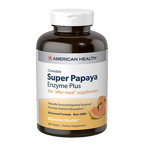American Health Super Papaya Enzyme Plus Chewable Tablets, Natural Papaya Flavor – Promotes Digestion & Nutrient…