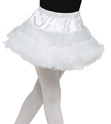 Bodice Satin Costumes (Tutus Skirt for Girl Belt adjustable 4 Layered Ballerina Party Skirt by Fitdance [White])