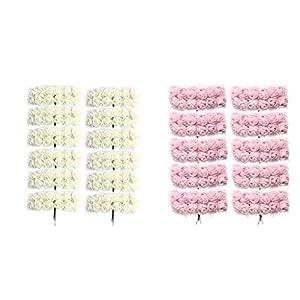 Fenteer 288Pcs Artificial Miniature Foam Rose Flower Wedding Bouquet DIY Craft Decor (Light Pink + Cream) 13