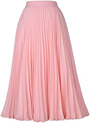 Kate Kasin Women's High Waist Pleated A-Line Swing Skirt Midi Skirt K