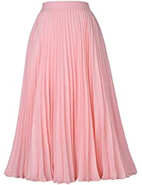 Women's High Waist Pleated A-Line Swing Skirt KK659