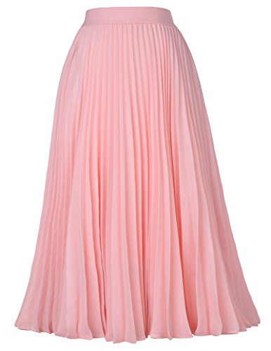 Women's Basic Solid Flared Casual Midi Skirt A-line Pink Size S KK659-1]()
