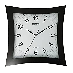 DEEPPRO Silent Wall Clock Solid Wood 14-inches Square Non Ticking Digital Quiet Sweep Decorative Vintage Wooden Clocks (Dark Brown)