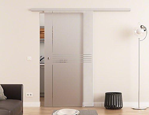 Puerta corredera de cristal de 1025 x 2050 mm idea-seda DE (I) Dorma ágil 50 sistema de completo EV1 alu-corredor y de acero inoxidable-la funda del mango puerta corredera de madera y