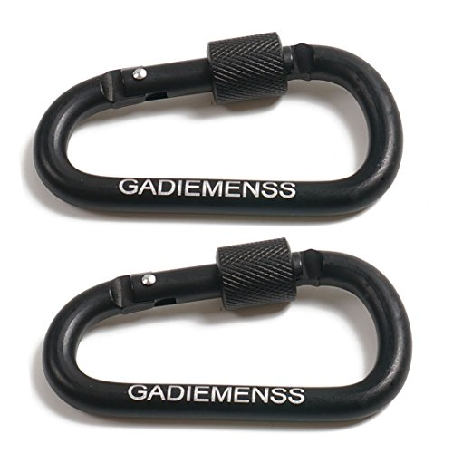 Price comparison product image GADIEMENSS 2 PCS Aluminum Alloy D-Ring High Strength Carabiner Key Chain Clip Hook For Camping Hiking (Not for Climbing) Black Black