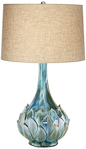Possini Euro Kenya Blue-Green Ceramic Table Lamp (Table Flower Lamp)