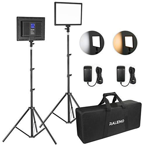 RALENO LED Video Lighting Kits With 75inch Light Stand, 1 Durable Handbag And 2-Pack 384 LED Soft Video Light, Built-in…
