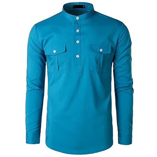 YOcheerful Men T-Shirt T Shirt Tee Top Long Sleeve Blouse Business Workwear (Blue,M) -