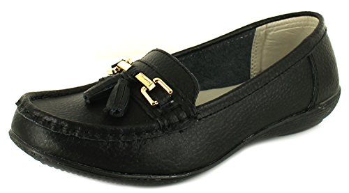 Womens/Ladies Leather Slip On Casual Shoes with Metal Trims. - Black - UK Sizes 3-8 2yh4snsb53