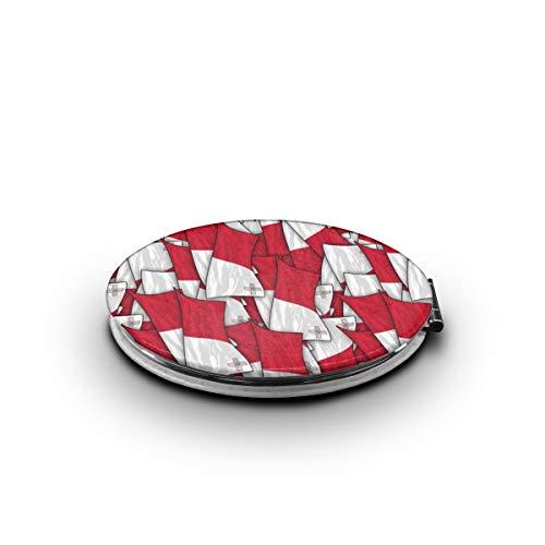 ZORITO Makeup Mirror Malta Flag Wave Collage Double-Sided Portable Folding Mirror Stainless -