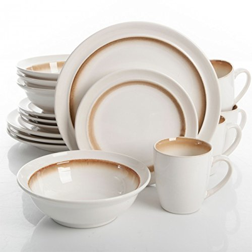 Gibson lawson 16 piece dinnerware set brown