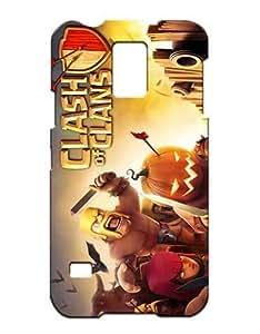 Samsung Galaxy S5 I9600 Funda Case Cover Retro Cool Game Boys Girls 3D Clash of Clans Clash Royale Hard Plastic Protective Vintage Antigolpes Antipolvo Tough Anti Drop (Negra and Luz) Case for Galaxy S5