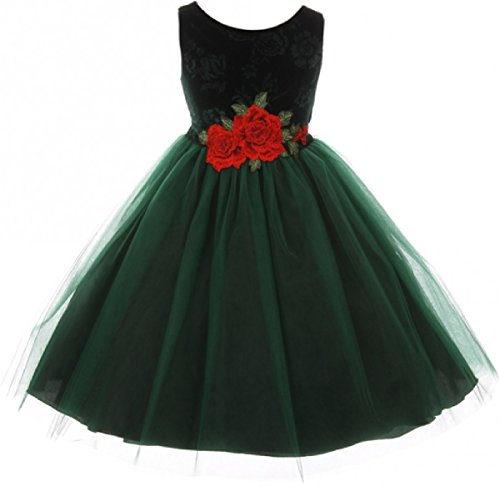 Little Girls Sleeveless Floral Velvet Rose Tulle Christmas Flower Girl Dress Green 6 (K39D6)