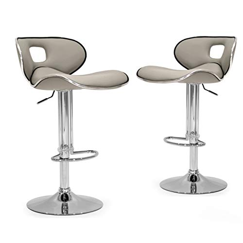 Glamour Home Décor Adria White/Black/Grey Chrome Frame Adjustable Height Swivel Bar Stools with Faux Leather Seating (Set of 2) Ashy