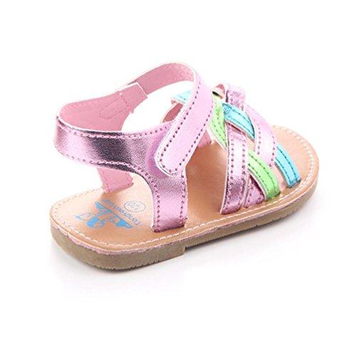 Jamicy® Baby Sandalen, Kinder Mädchen Sommer Strand Casual Weave Muster Anti-Rutsch-Sandalen Schuhe Rosa