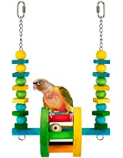 MEWTOGO Wooden Wheel Bird Parrot Toy- Hanging Bird Cage Foot Stand Toy with Colorful Wood Beads and Blocks String Swing Chewing Toys for Small and Medium Parrots and Birds