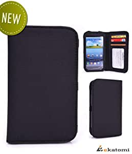 Motorola DROID RAZR M Universal Phone Case - BLACK [Bi-Fold] | Unisex - Men / Women Wallet. Bonus Ekatomi Screen Cleaner