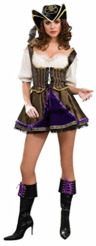 Forum Novelties Women's Designer Collection Deluxe Flirty Pirate Wench Costume, Multi, Small - Caribbean Pirate Maiden Costumes