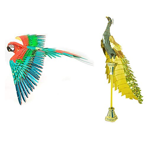 Fascinations Metal Earth ICONX 3D Metal Model Kits Set of 2 - Peacock and Jubilee Macaw Parrot