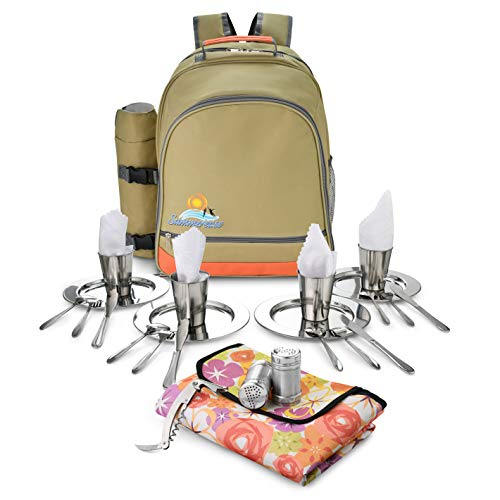 4-Person Picnic Backpack Bag | Insulated Picnic Baskets or Cooler Lunch Box, compartments Set | Includes Luxury Stainless Steel Cutlery, Plates & Cups. Backpacks/Basket for Outdoor Camping & Hiking
