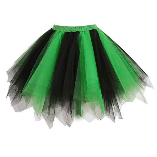 Girstunm Women's 1950s Vintage Petticoats Bubble Tutu Dance Half Slip Skirt Green-Black-S/M]()