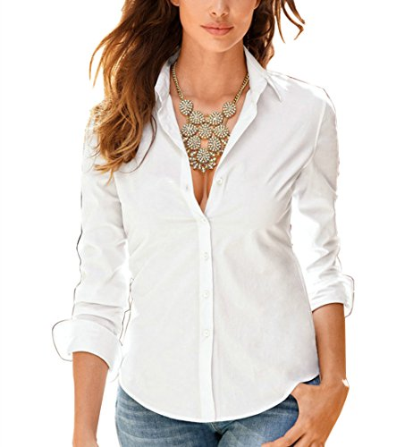 Cotton Shirt Blouse (Sexymee Womens Long Cuffed Sleeve V Neck Cotton Casual Blouse Shirt Tops, White, Large)