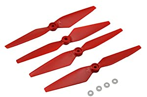 Blomiky 4 Red Propeller and White Circle Soft Pad for MJX Bugs 2 B2C B2W Brushless GPS Quadcopter Drone B2W Blades Red and Pad by MJX