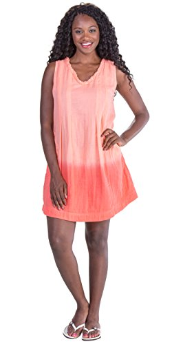 (Peppermint Bay Cotton Sleeveless Short Ombre Beach Dress in Azalea (Coral, Small (2-4)))