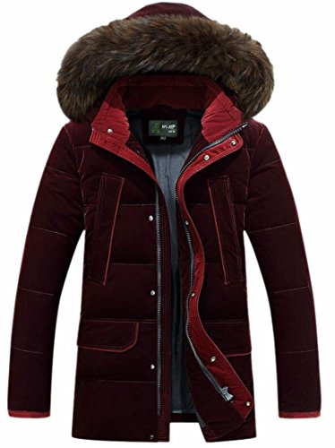 Cotton Hooded Fur UK Outwear Down Jacket Brd Red Thicken Men's Faux Coat Hot FRXZq0UR