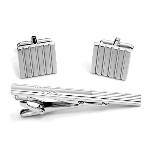 Brushed Silver Tone Square Stylish Cufflinks with Matching Tie Bar Clip