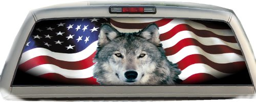 (Amer Flag- Wolf- 22 Inches-by-65 Inches- Rear Window Graphics)