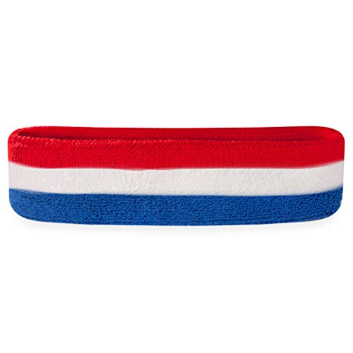 Suddora Striped Sweatband/Headband - Terry Cloth Athletic Basketball Head Sweat Bands (Red White Blue)]()