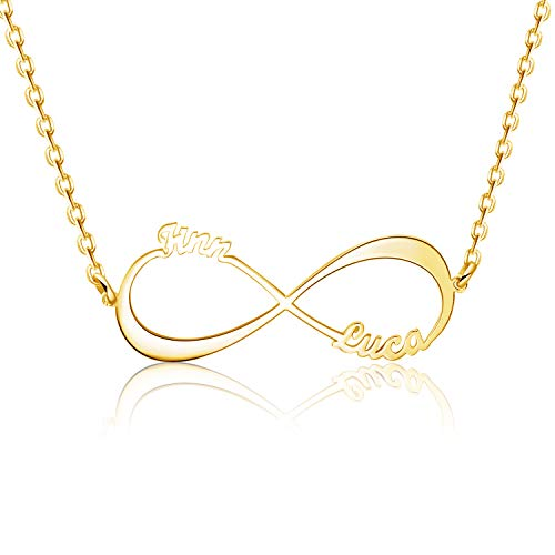 EVER2000 Sterling Silver Infinity Name Necklace Personalized, Nameplate Necklace Custom Made with Any Names Pendant Jewelry Gift for Women ()