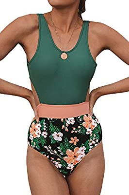CUPSHE Women's Floral Print Lined Tank Self Tie One Piece Swimsuit